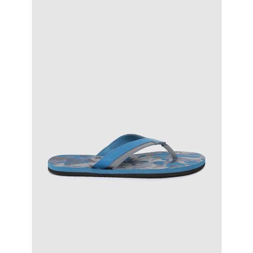 ADIDAS Men Blue & Grey Toe Side II Camouflage Print Thong Flip-Flops