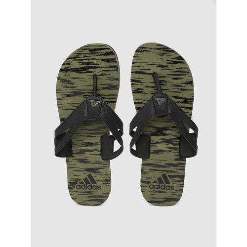 ADIDAS Men Black & Olive Green Ozor III Ms Printed Thong Flip-Flops
