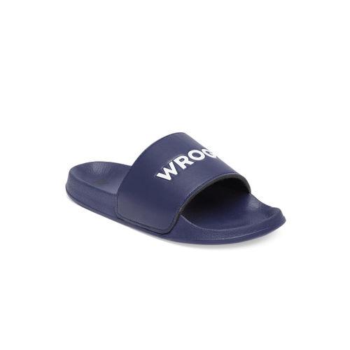 WROGN Men Navy Blue Solid Sliders