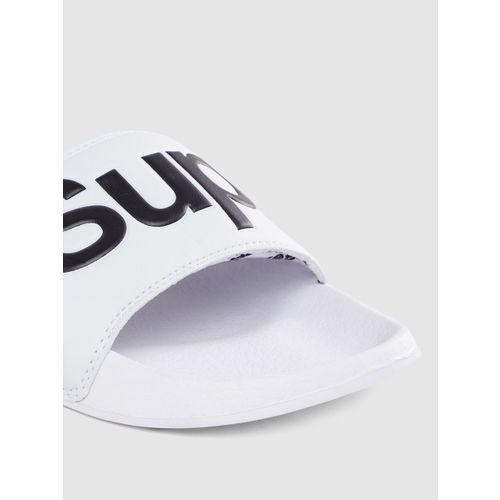 Superdry Men Off-White & Black Printed Sliders