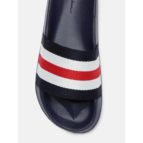 Mast & Harbour Men Navy Blue & White Striped Sliders