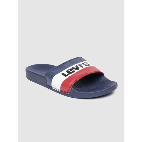 Levis Men Blue & White Striped Sliders