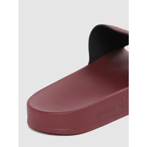 ADIDAS Originals Men Burgundy & White Striped Sliders