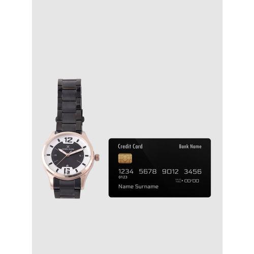 Daniel Klein Men Black & Silver-Toned Analogue Watch DK12166-4