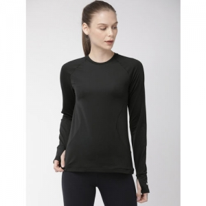 Nike Women Dri-Fit Warm Crew Black Solid Round Neck T-shirt