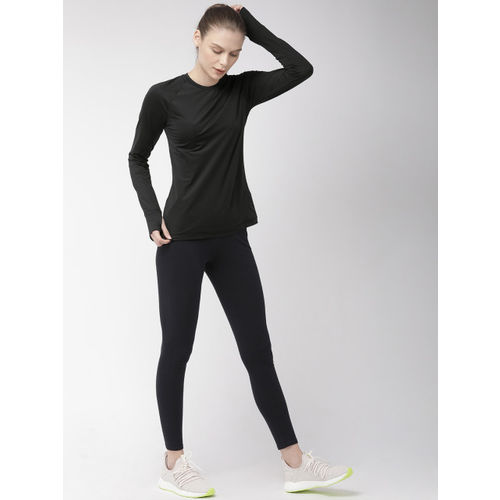 Nike Women Dri-Fit Warm Crew Black Solid Round Neck T-shirt