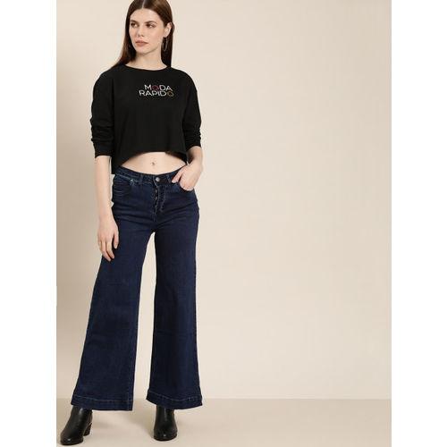 Moda Rapido Women Black Printed Round Neck T-shirt