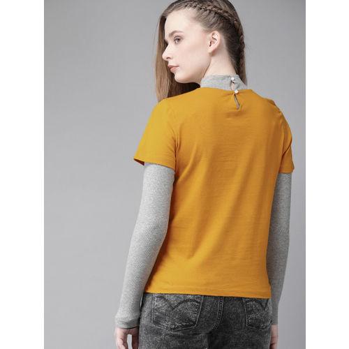 Roadster Women Mustard Yellow Solid High Neck T-shirt