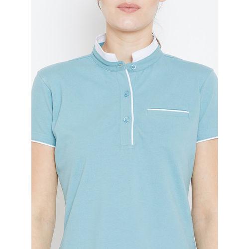 JUMP USA Women Blue Solid Mandarin Collar T-shirt