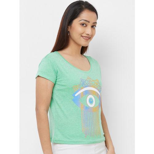 Imagica Women Green Printed Round Neck T-shirt