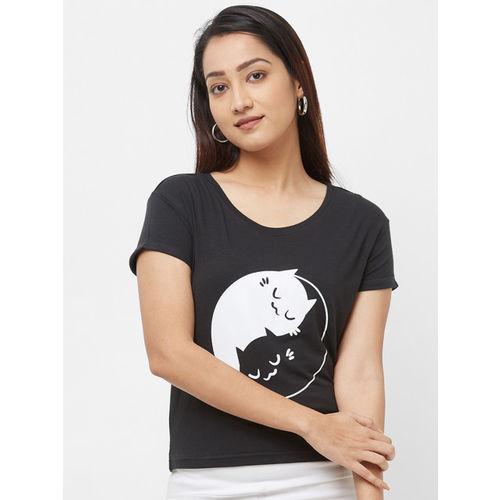 Imagica Women Black Printed Round Neck T-shirt