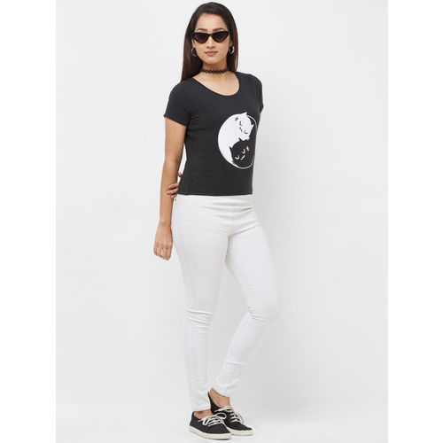 Imagica Women Black Printed Round Neck T-shirt