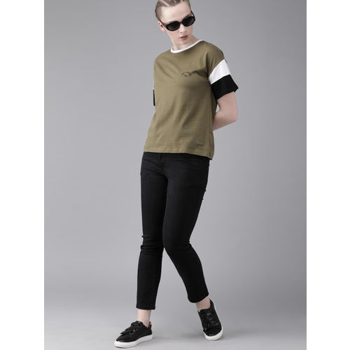 Roadster Women Olive Green Solid Round Neck T-shirt
