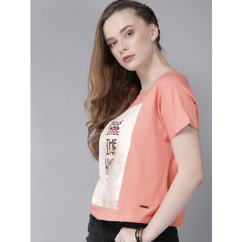 Roadster Women Pink Printed Round Neck T-shirt