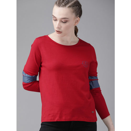 Roadster Women Red Solid Round Neck T-shirt