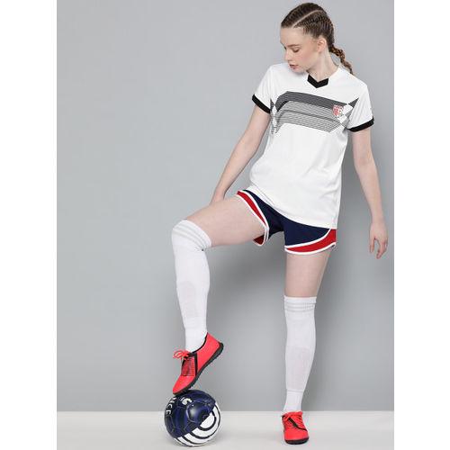 HRX by Hrithik Roshan Women White & Black Striped Regular Fit Football T-shirt