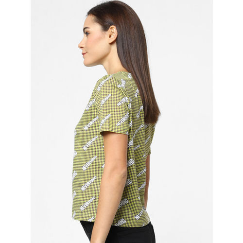 ONLY Women Green & Brown Printed Round Neck T-shirt