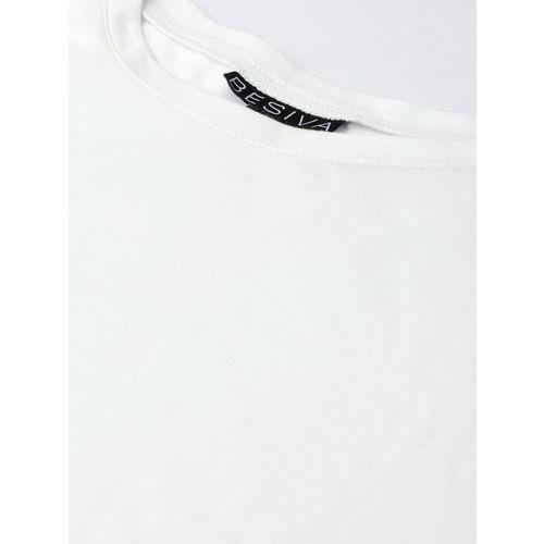 Besiva Women White Solid Round Neck T-shirt