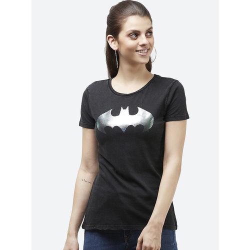 Batman Women Black Printed Round Neck T-shirt