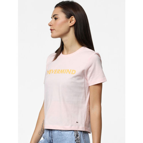 ONLY Women Pink & Mustard Yellow Printed Round Neck T-shirt