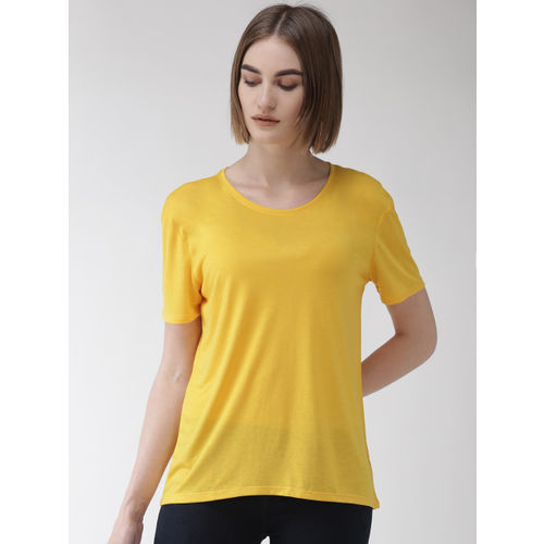 Marks & Spencer Women Yellow Solid Round Neck T-shirt
