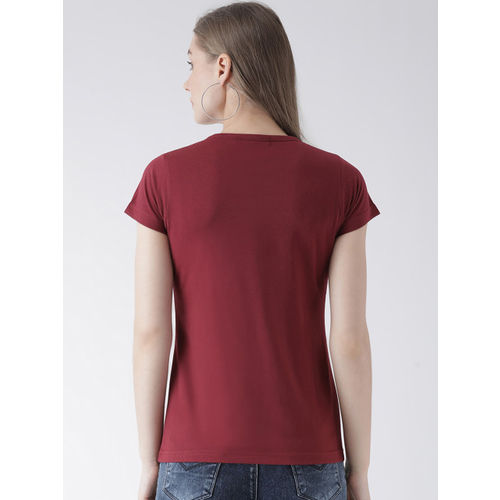 GRIFFEL Women Pack of Two Black & Maroon Solid Round Neck T-shirt