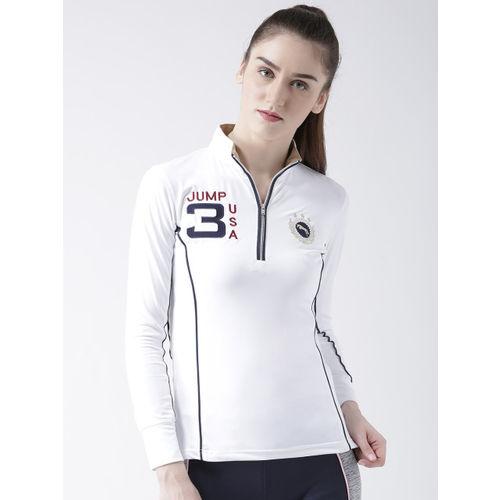 JUMP USA Women White Printed Mandarin Collar T-shirt