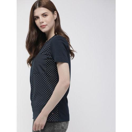Tommy Hilfiger Women Navy Blue & White Printed Round Neck T-shirt