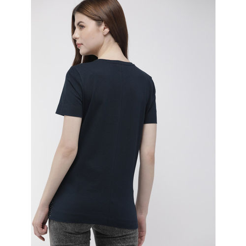 Tommy Hilfiger Women Navy Blue & White Printed Round Neck T-shirt