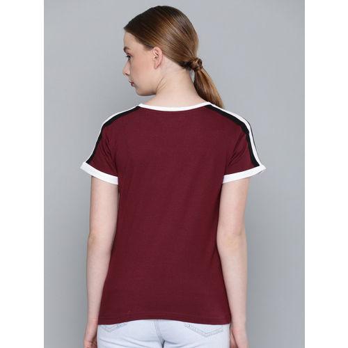 DILLINGER Women Burgundy Solid Round Neck T-shirt
