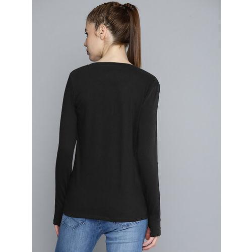 HRX by Hrithik Roshan Women Black Printed Round Neck Lifestyle Regular Fit T-shirt