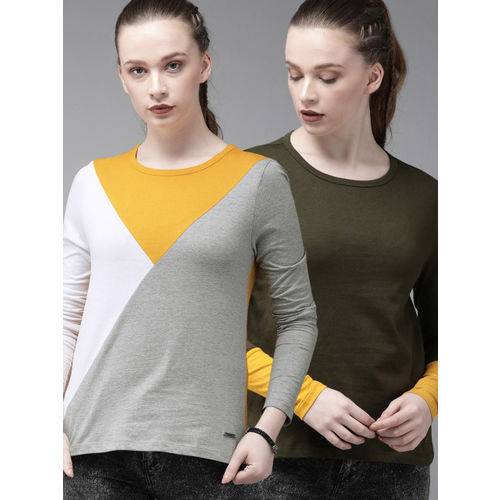 Roadster Women Pack Of 2 Round Neck T-shirt