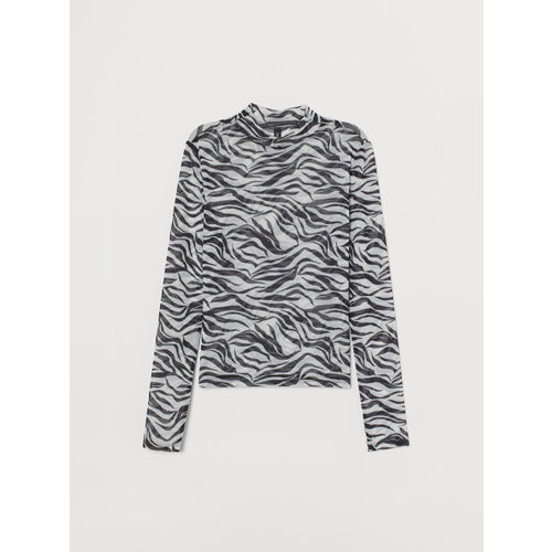 H&M Women White & Black Printed Turtleneck Mesh Top