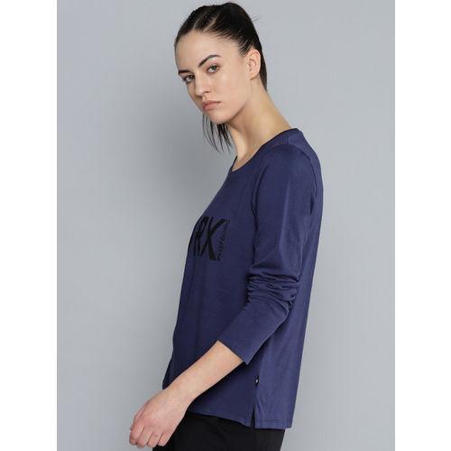HRX by Hrithik Roshan Women Navy Blue & Black Printed Lifestyle Regular Fit T-Shirt