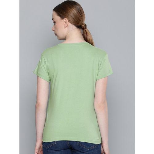 DILLINGER Women Green Printed Round Neck T-shirt