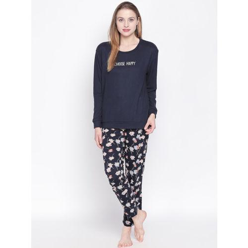 Dreamz by Pantaloons Women Navy Blue Printed Round Neck T-shirt