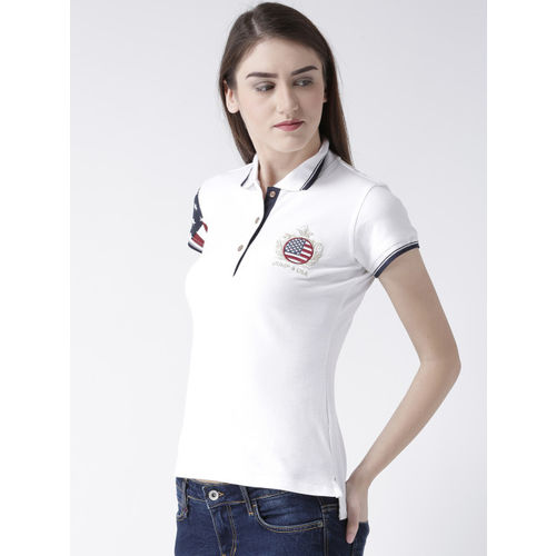 JUMP USA Women White Solid Polo Collar T-shirt