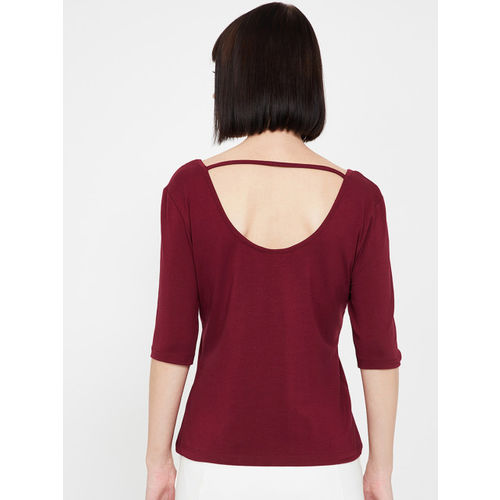 Ginger by Lifestyle Women Burgundy Solid Round Neck T-shirt