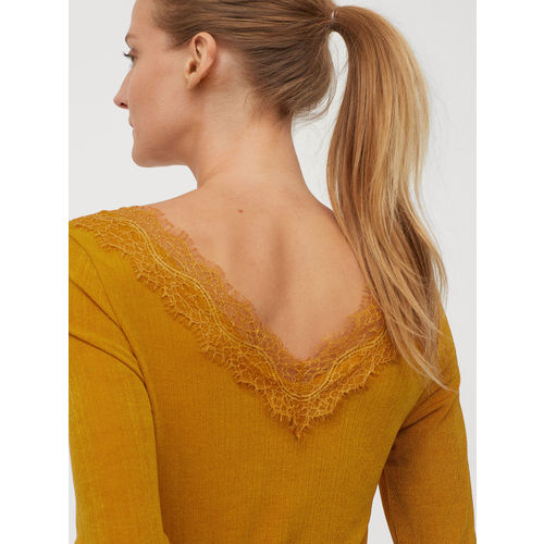 H&M Women Mustard Yellow Solid Top with Lace Details
