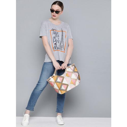 DILLINGER Women Grey Melange Boxy Fit Printed Round Neck T-shirt