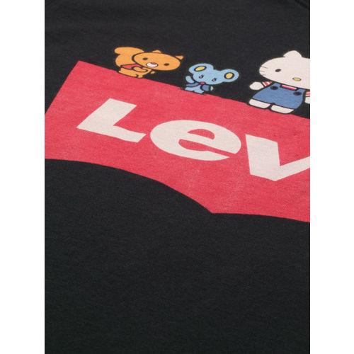Levis Women Black & Red Printed Round Neck T-shirt