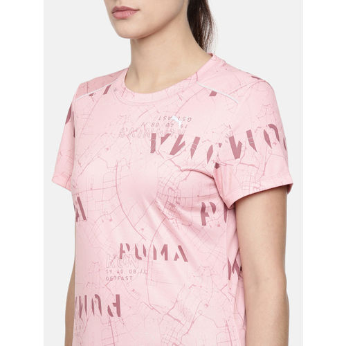 Puma Women Pink Printed Last Lap Graphic DRYCELL Round Neck Running & Training T-shirt