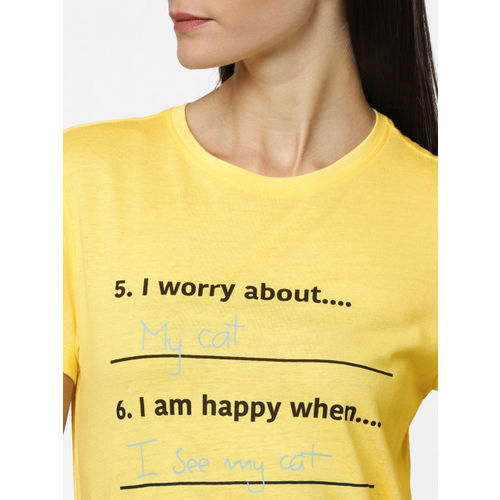 ONLY Women Yellow Printed Round Neck T-shirt