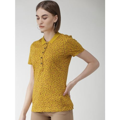 Marks & Spencer Women Mustard Yellow & Pink Floral Print Polo Collar T-shirt