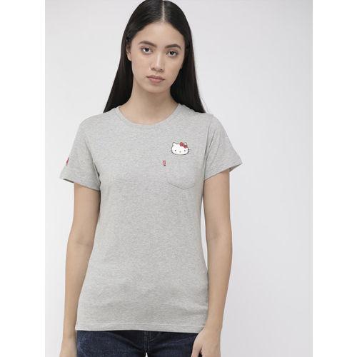 Levis x Hello Kitty Women Grey Melange Solid Round Neck Sunset Pocket T-shirt