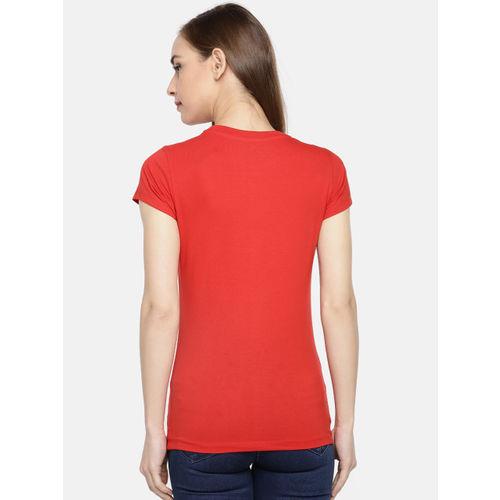 Dollar Missy Women Red & Navy Blue Set Of 2 Printed Round Neck T-shirt