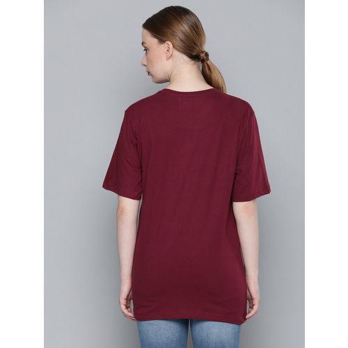DILLINGER Women Burgundy Printed Round Neck Longline T-shirt