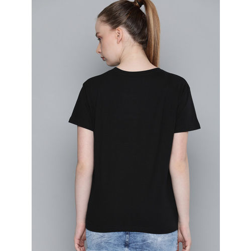 DILLINGER Women Black Printed Round Neck T-shirt