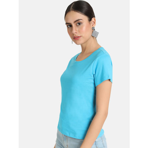 VividArtsy Women Blue Solid Round Neck T-shirt