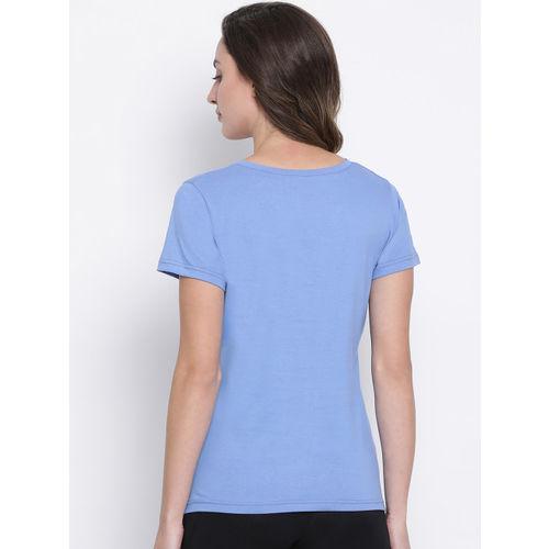 Clovia Women Blue Printed V-Neck T-shirt